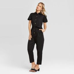 Women's Puff Short Sleeve Collared Jumpsuit - Who What Wear Black XL, Women's, Size: XL   Target