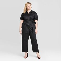 Women's Plus Size Puff Short Sleeve Collared Jumpsuit - Who What Wear Black 3X, Women's, Size: 3XL   Target