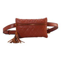 Diophy Women's Lumbar Bags Brown - Brown Tassel Belt Bag   Zulily