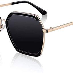 SUNIER Sunglasses for Women Polarized Oversized Square UV Protection Hexagonal Vintage Retro Sun ... | Amazon (US)