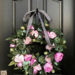 Summer Peony Wreath SALE, Front Door Wreaths, Summer Wreath for Front Door, Pink Peony Wreaths, S... | Etsy (US)