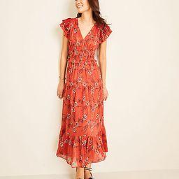 Shimmer Floral Flutter Sleeve Maxi Dress | Ann Taylor (US)