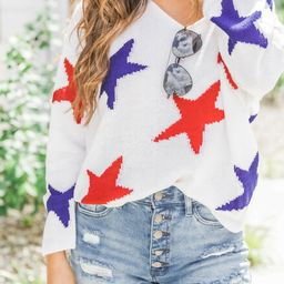 Starlight Love Sweater Patriotic | The Pink Lily Boutique