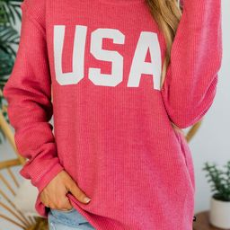 Jersey USA Graphic Corded Sweatshirt PRE-ORDER | The Pink Lily Boutique