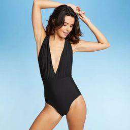 Sea Angel Women's Plunge Cross Back One Piece Swimsuit - Black | Target