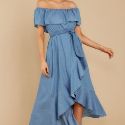 Meet Cute Chambray Midi Off The Shoulder Dress   Red Dress