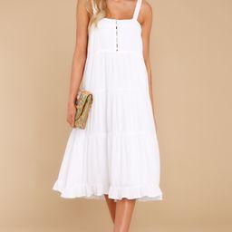 Smile Awhile White Midi Dress   Red Dress