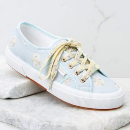 2750 Fan Cot Blue and Yellow Floral Print Sneakers   Red Dress