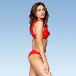 Women's Ruffle Bikini Top - Sugar Coast By Lolli Solid Red   Target