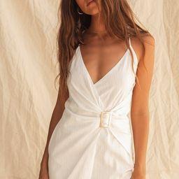 Bianca White Faux Wrap Belted Mini Dress   Lulus