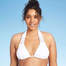 Women's Macrame Triangle Bikini Top - Xhilaration™ White   Target
