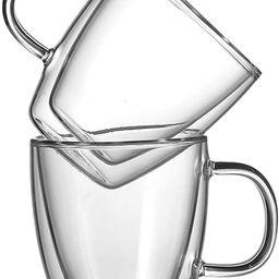 CnGlass Large Coffee Glass Mugs 11.8 oz,Insulated Espresso Mug with Handle,Double Wall Glasses Se... | Amazon (US)