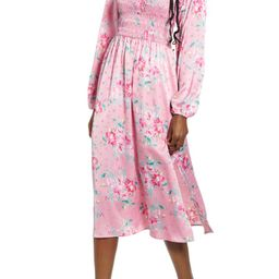 x Influencing in Color Long Sleeve Smocked Midi Dress | Nordstrom