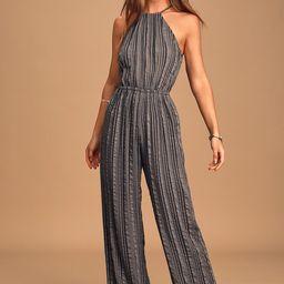 Destination Vacay Grey Striped Halter Wide-Leg Jumpsuit   Lulus