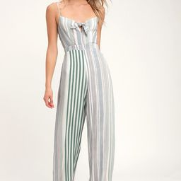 Promise Sage Green Striped Knotted Front Jumpsuit   Lulus