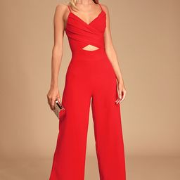 So Ladylike Red Surplice Cutout Jumpsuit   Lulus