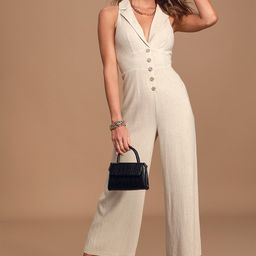 On A Good Day Beige Button Front Culotte Jumpsuit   Lulus