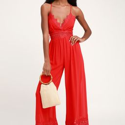 Sunny Day Dream Red Lace Culotte Jumpsuit   Lulus