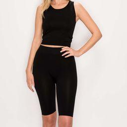 Kimberly C Women's Active Shorts Black - Black Crop Tank & Biker Shorts - Women | Zulily