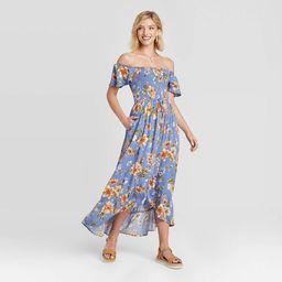Women's Floral Print Short Sleeve Smocked Top Button-Front Dress - Xhilaration™   Target