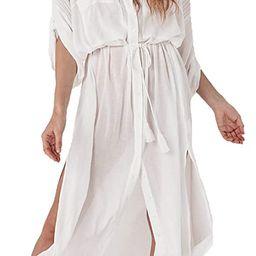 Wander Agio Womens Bikini Cover Ups Beach Casual Dress Coverup Swimsuits Long Cardigan Button   Amazon (US)
