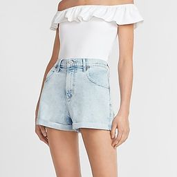 Super High Waisted Rolled Mom Jean Shorts | Express