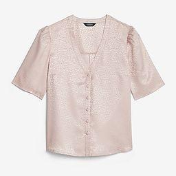 Satin Jacquard Puff Sleeve Shirt | Express