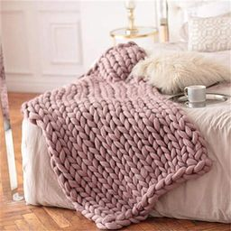 Nicole Knupfer Handmade Giant Soft Thick Chunky Knitted Blanket Cozy Bed Throw, Fashion Sofa Blan... | Amazon (UK)