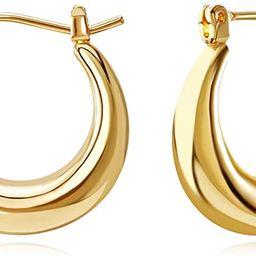FAMARINE 18K Gold Plated Chunky Small Hoop Earrings, Dainty Minimalist Open Hoops Earrings For Wo...   Amazon (US)