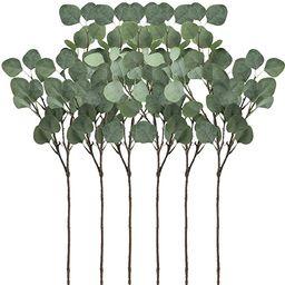"Supla 6 Pcs Artificial Silver Dollar Eucalyptus Leaf Spray in Green 25.5"" Tall Artificial Greener...   Amazon (US)"