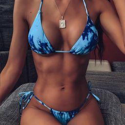 Tie Dye Halter Tie Side Bikini Swimsuit | SHEIN