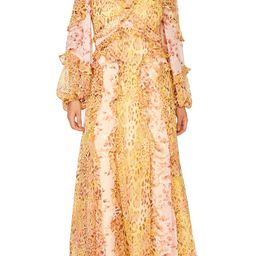 Mixed Print Long Sleeve Ruffle Maxi Dress | Nordstrom