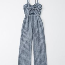 Women's Tie-Front Cutout Jumpsuit | Women's Sale | Abercrombie.com | Abercrombie & Fitch (UK)
