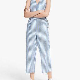 Boden Dorothea Sleeveless V-Neck Stripped Jumpsuit, Blue Ivory Stripe | John Lewis UK