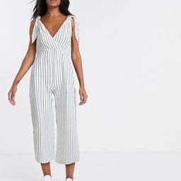 ASOS DESIGN tie strap chuck on jumpsuit in white stripe print | ASOS (Global)