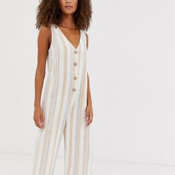 New Look jumpsuit with button front in stripe linen | ASOS (Global)