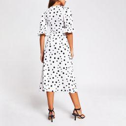 White polka dot puff sleeve midi dress | River Island (UK & IE)