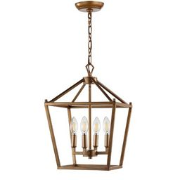 "12"" Pagoda 4 Bulb Lantern Metal LED Pendant Antique Gold - JONATHAN Y | Target"