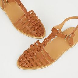 Tan Leather-Look Woven Caged Sandals   Add to Saved Items Remove from Saved Ite...   New Look (UK)