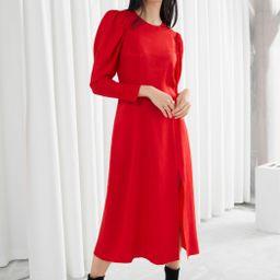 Jacquard Puff Sleeve Midi Slit Dress   & Other Stories