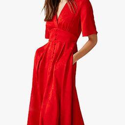 Phase Eight Caprice Jacquard Dress, Red   John Lewis UK