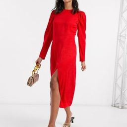 & Other Stories dot jacquard puff sleeve midi dress in red   ASOS (Global)