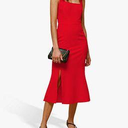 Whistles Milla Square Neck Midi Dress, Red   John Lewis UK