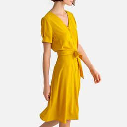 Button-Through Mid-Length Dress with Short Sleeves   La Redoute (UK)