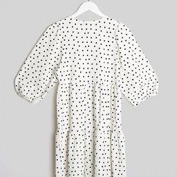 Bershka polka dot smock dress in white | ASOS (Global)