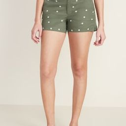 Mid-Rise Everyday Embroidered-Daisy Twill Shorts for Women -- 3.5-inch inseam | Old Navy (US)