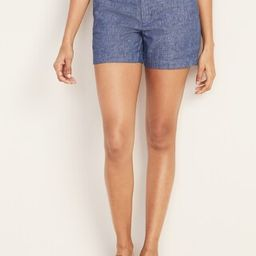 Mid-Rise Everyday Linen-Blend Shorts for Women - 5-inch inseam | Old Navy (US)