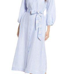 Stripe Linen Midi Shirtdress | Nordstrom