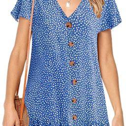 Imysty Womens Polka Dot V Neck Button Down Ruffles Loose Mini Short T-Shirt Dress   Amazon (US)