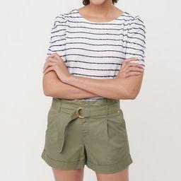 Herringbone Belted Paper Bag Shorts | LOFT | LOFT